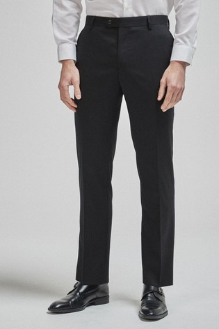 Black Tailored Fit 100% Wool Suit: Trousers