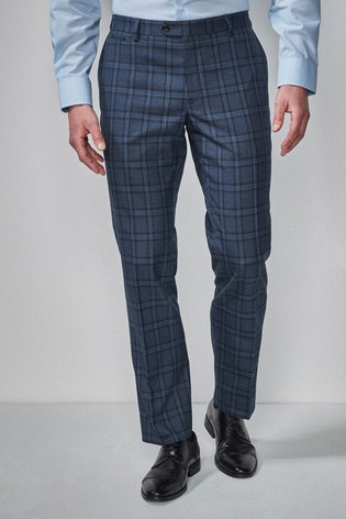 Blue Tailored Fit Check Suit: Trousers