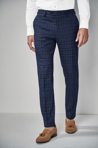 Blue Skinny Fit Check Suit: Trousers