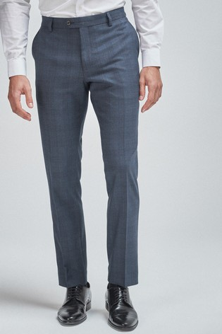 Blue/Brown Tailored Fit Check Suit: Trousers