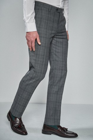Grey/Blue Tailored Fit Wool Blend Check Suit: Trousers