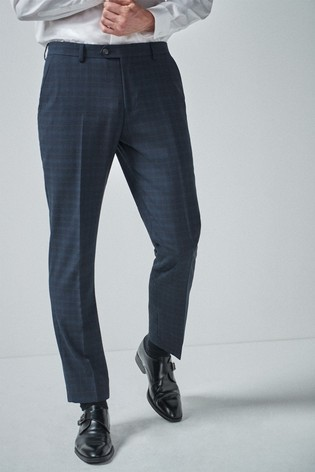 Navy/Black Tailored Fit Check Suit: Trousers