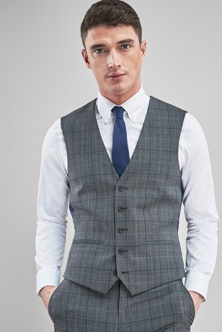 Grey/Blue Wool Blend Check Suit: Waistcoat
