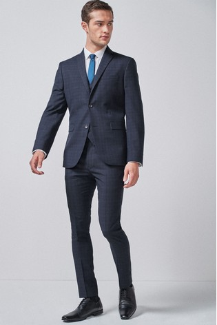Navy/Black Super Skinny Fit Check Suit: Jacket
