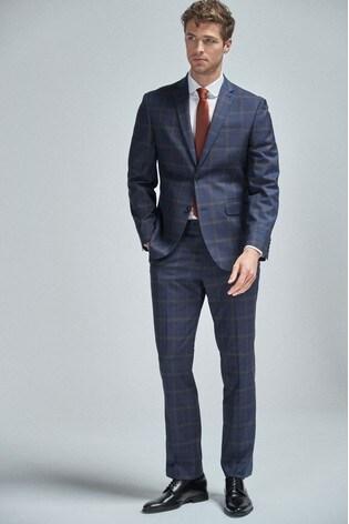 Bright Blue Regular Fit Check Suit: Jacket