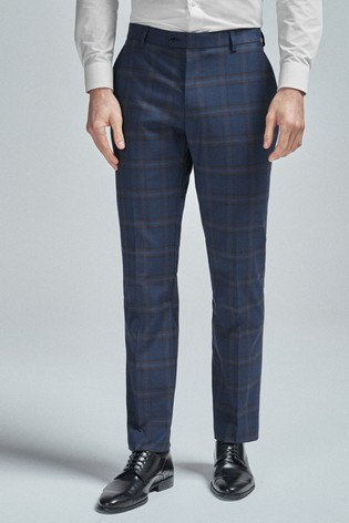 Bright Blue Regular Fit Check Suit: Trousers