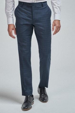 Blue Slim Fit Check Suit: Trousers