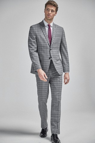 Grey/Charcoal Regular Fit Check Suit: Jacket