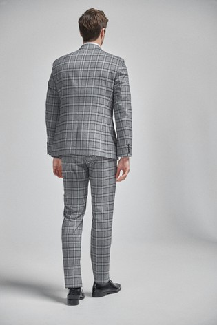 Grey/Charcoal Regular Fit Check Suit: Jacket