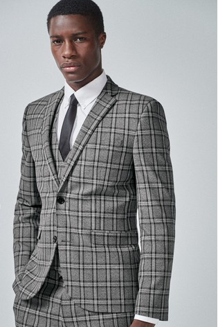 Grey/Charcoal Skinny Fit Check Suit: Jacket