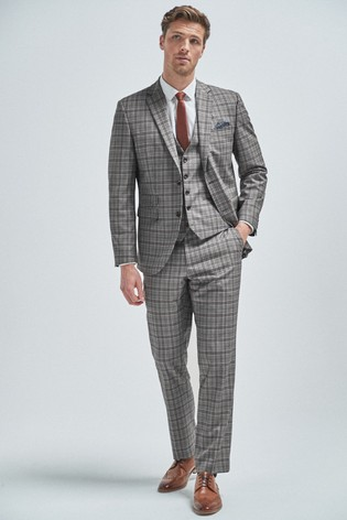 Grey/Burgundy Tailored Fit Check Suit: Jacket