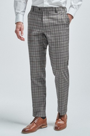 Grey/Burgundy Tailored Fit Check Suit: Trousers