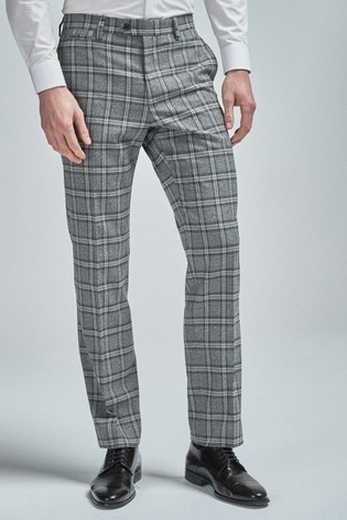 Grey/Charcoal Regular Fit Check Suit: Trousers