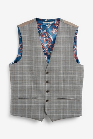 Light Grey/Tan Check Suit: Waistcoat