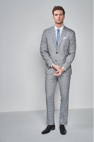 Light Grey/Blue Regular Fit Check Suit: Jacket