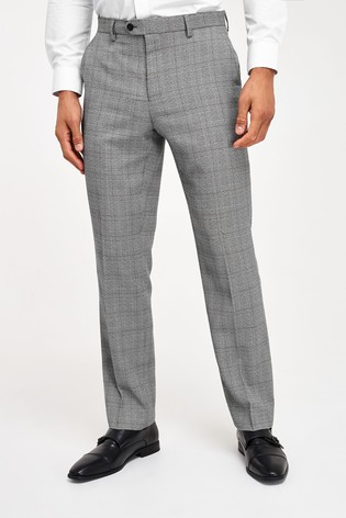 Light Grey/Blue Regular Fit Check Suit: Trousers