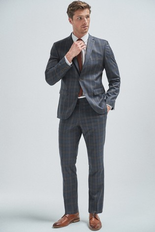 Mid Blue/Tan Tailored Fit Check Suit: Jacket