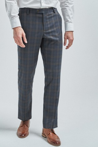 Mid Blue/Tan Tailored Fit Check Suit: Trousers