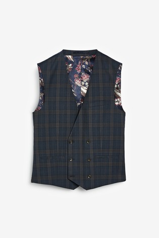 Mid Blue/Tan Check Suit: Waistcoat