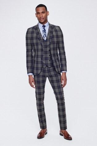 Grey Super Skinny Fit Tartan Check Suit: Jacket