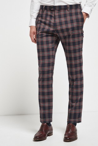Navy/Red Skinny Fit Check Suit: Trousers