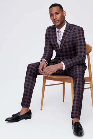 Navy/Red Skinny Fit Check Suit: Jacket