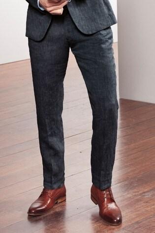 Navy Slim Fit Nova Fides Signature Linen Suit: Trousers