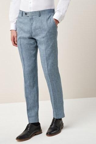 Light Blue Slim Fit Nova Fides Signature Linen Suit: Trousers