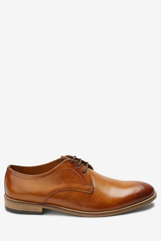 Tan Contrast Sole Leather Derby Shoes