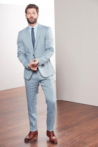 Light Blue Slim Fit Nova Fides Signature Linen Suit: Jacket