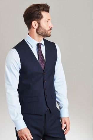 Navy Empire Mills Signature Textured Suit: Waistcoat