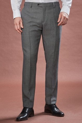 Grey Slim Fit Empire Mills Signature Birdseye Suit: Trousers