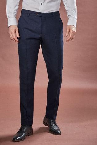 Navy Slim Fit Empire Mills Signature Birdseye Suit: Trousers