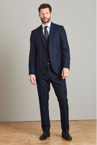 Navy Slim Fit Empire Mills Signature Birdseye Suit: Jacket