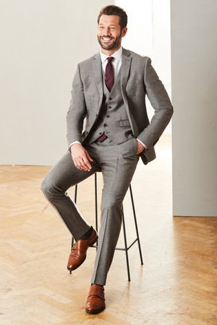 Taupe Slim Fit Empire Mills Signature British Wool Flannel Suit: Jacket