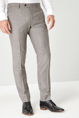 Taupe Slim Fit Empire Mills Signature British Wool Flannel Suit: Trousers