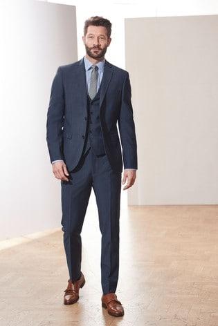 Blue Tailored Fit Signature Suit: Jacket
