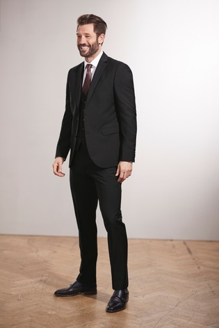 Black Regular Fit Tollegno Signature Suit: Jacket