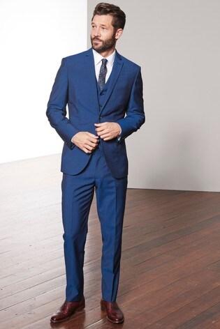 Bright Blue Slim Fit Tollegno Signature Suit: Jacket