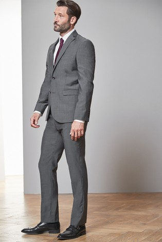 Charcoal Tailored Fit Tollegno Signature Suit: Jacket