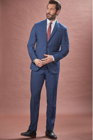 Bright Blue Tailored Fit Tollegno Signature Suit: Jacket
