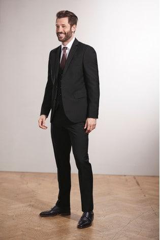 Black Slim Fit Tollegno Signature Suit: Jacket