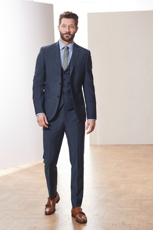 Mid Blue Slim Fit Tollegno Signature Suit: Jacket
