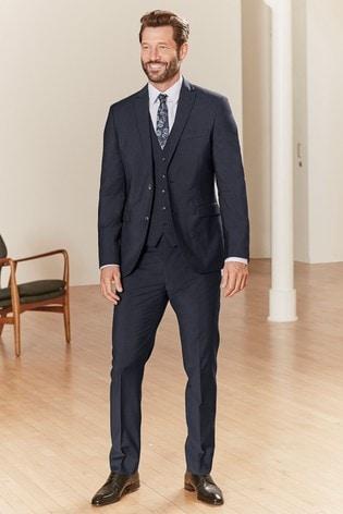 Navy Slim Fit Tollegno Signature Suit: Jacket