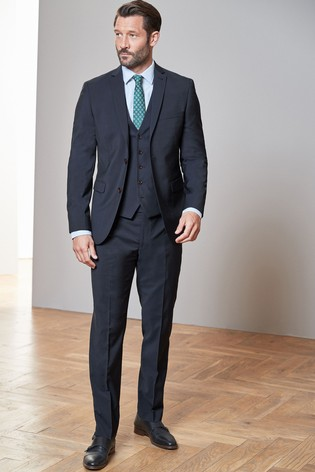 Navy Tailored Fit Tollegno Signature Suit: Jacket