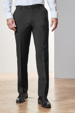 Black Regular Fit Tollegno Signature Suit: Trousers