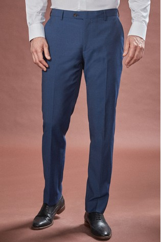 Bright Blue Tailored Fit Tollegno Signature Suit: Trousers