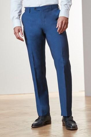Bright Blue Regular Fit Tollegno Signature Suit: Trousers