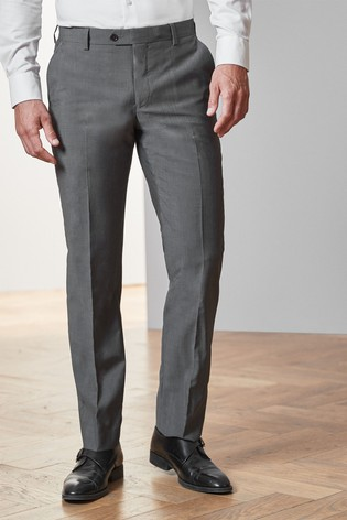 Charcoal Tailored Fit Tollegno Signature Suit: Trousers