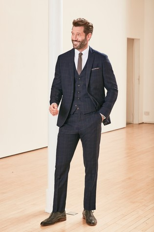 Navy Slim Fit Empire Mills Signature Check Suit: Jacket